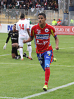PASTO - COLOMBIA -15-02-2014: Bosco Frontán (Der.) jugador de Deportivo Pasto celebra el gol anotado a Universidad Autonoma durante partido Deportivo Pasto  y Universidad Autonoma por la fecha 12 de la Liga Postobon I 2014, jugado en el estadio Libertad de la ciudad de Pasto.  / Bosco Frontán (R) player of Deportivo Pasto celebrates a goal scored to Universidad Autonoma during a match Deportivo Pasto  and Universidad Autonoma for the date 12 th of the Liga Postobon I 2014 at the Libertad stadium in Pasto city. Photo: VizzorImage  / Leonardo Castro / Str.