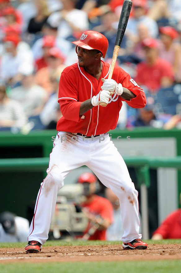 NYJER MORGAN, of the Washington Nationals, in action during the Nationals game against the Los Angeles Dodgers .The Washington Nationals defeated the Los Angeles Dodgers 1-0 in Major League Baseball action in Washington, D.C. on April 25, 2010. ....