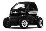 Stock pictures of low aggressive front three quarter view of a 2018 Renault Twizy Cargo 3 Door Hatchback