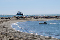Cruise ship, Sea Dream 1, moored off Puerto Banus, Marbella, Spain, 30th April 2017, 201704303530<br />