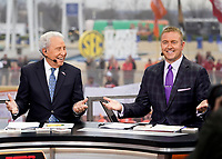 ATLANTA, GA - DECEMBER 7: Lee Corso and Kirk Herbstreit at ESPN College Game Day during a game between Georgia Bulldogs and LSU Tigers at Mercedes Benz Stadium on December 7, 2019 in Atlanta, Georgia.