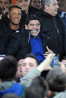 Diego Armando Maradona ritorna allo stadio San Paolo per assistere ala partita Napoli Roma <br /> former player Diego Armando Maradona attends the Italian Tim Cup  soccer match between SSC Napoli and AS  Roma  at San Paolo stadium in Naples, Feburary 12, 2014