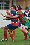 Ardmore Marist hooker Cody Martin is tackled by Michael Baird. Counties Manukau Premier rugby game between Waiuku & Ardmore Marist played at Waiuku on Saturday May 10th 2008..Ardmore Marist won 27 - 6 after leading 10 - 6 at halftime.