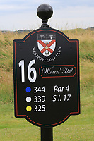 New sign at the 16th tee during the Preview of the AIG Cups & Shields Connacht Finals 2019 in Wesport Golf Club, Westport, Co. Mayo on Thursday 8th August 2019.<br /> <br /> Picture:  Thos Caffrey / www.golffile.ie<br /> <br /> All photos usage must carry mandatory copyright credit (© Golffile | Thos Caffrey)