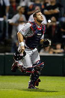 August 7, 2009:  Catcher Kelly Shoppach (10) of the Cleveland Indians chases down a foul ball during a game vs. the Chicago White Sox at U.S. Cellular Field in Chicago, IL.  The Indians defeated the White Sox 6-2.  Photo By Mike Janes/Four Seam Images