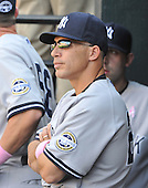 Baltimore, MD - May 10, 2009 -- New York Yankees manager Joe Girardi (27) watches as Mariano Rivera (42) pitches in the ninth inning against the Baltimore Orioles at Oriole Park at Camden Yards in Baltimore, MD on Sunday, May 10, 2009.  The Yankees won the game 5 - 3..Credit: Ron Sachs / CNP.(RESTRICTION: NO New York or New Jersey Newspapers or newspapers within a 75 mile radius of New York City)