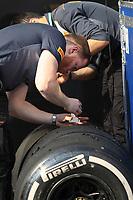 3rd December 2019; Yas Marina Circuit, Abu Dhabi, United Arab Emirates; Pirelli Formula 1 tyre testing sessions; Pirelli tyre technicians inspect tyres