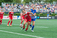 Boston, MA - Saturday July 01, 2017: Meggie Dougherty Howard and Megan Oyster during a regular season National Women's Soccer League (NWSL) match between the Boston Breakers and the Washington Spirit at Jordan Field.
