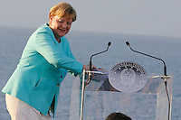 German Chancellor Angela Merkel , attends at press conference  on board of Itally's Navy Garibaldi, at the of Italy - France - Germany summit in Ventotene Island 22 August 2016