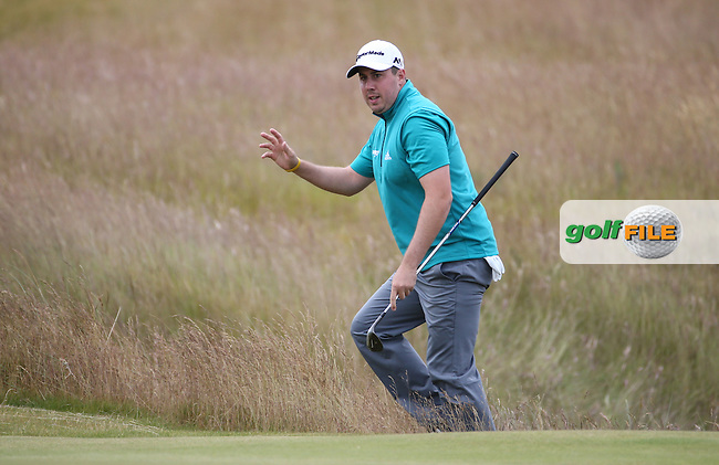 Ryan Evans (ENG) chips from the rough onto the 7th during Round Three of the 2016 Aberdeen Asset Management Scottish Open, played at Castle Stuart Golf Club, Inverness, Scotland. 09/07/2016. Picture: David Lloyd | Golffile.<br /> <br /> All photos usage must carry mandatory copyright credit (&copy; Golffile | David Lloyd)