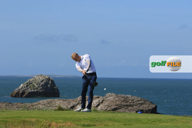 Darren O'Sullivan (Tralee) on the 4th tee during the Munster Final of the AIG Barton Shield at Tralee Golf Club, Tralee, Co Kerry. 12/08/2017<br /> Picture: Golffile   Thos Caffrey<br /> <br /> <br /> All photo usage must carry mandatory copyright credit     (&copy; Golffile   Thos Caffrey)