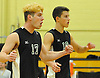 Owen Bradley #17 of Bellmore JFK, left, and Josh Levine #10 react after their team's 3-1 win over host West Hempstead High School in a Nassau County Conference B-1 varsity boys volleyball match on Thursday, Oct. 13, 2016.