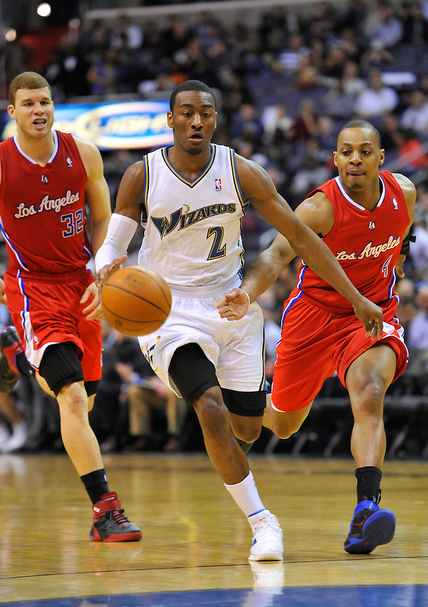 John Wall of the Wizards drives to the basket against the LA Clippers at the Verizon Center in Washington, DC on March 3, 2011. Alan P. Santos/DC Sports Box