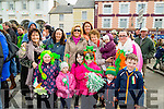 Enjoying the Castleisland St Patrick's Day Parade Front l-r: Chloe Collins,Caoimhe Roche,Alesha Fitzgerald,Faith Beasley Oisín and Cian Pembroke. Back were, Linda O'Gorman,Gill Collins, Denise and Phil Culhane, Phil; O'Connor and Grainne Fitzgerald.