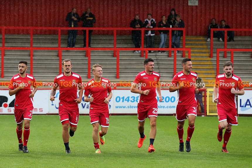 Stevenage players warm up pre-match during Stevenage vs Norwich City, Friendly Match Football at the Lamex Stadium on 11th July 2017