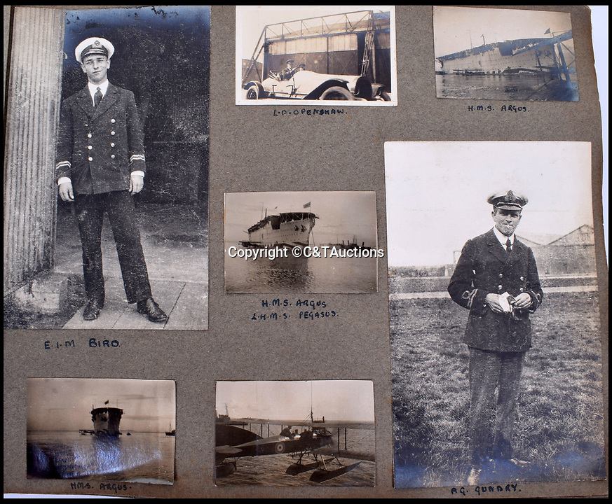 BNPS.co.uk (01202 558833)<br /> Pic: C&TAuctions/BNPS<br /> <br /> Captain Carey snapped fellow RNAS officers as well as HMS Argus, one of the worlds first aircraft carriers converted from an Italian liner.<br /> <br /> A fascinating photo album which documents the adventures of a captain in the fledgling Royal Naval Air Service has been unearthed after 100 years.<br /> <br /> The photos were compiled by Captain Denis Carey who was based in Maidstone, Kent, and they provide a fascinating insight into the air arm of the Royal Navy during the First World War.<br /> <br /> They show the thrills and spills of the pioneering early days of aviation in a world before health and safety had been invented.