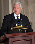 United States Vice President Mike Pence makes remarks at a Congressional Gold Medal ceremony honoring former US Senator Bob Dole (Republican of Kansas) that was also attended by US President Donald J. Trump in the Rotunda of the US Capitol on Wednesday, January 17, 2017.  Congress commissioned gold medals as its highest expression of national appreciation for distinguished achievements and contributions.  Dole served in Congress from 1961 through 1996, was the Senate GOP leader from 1985 through 1996, and was the 1996 Republican Party nominee for President of the United States.<br /> Credit: Ron Sachs / CNP