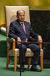 General Assembly Seventy-fourth session, 5th plenary meeting<br /> <br /> His Excellency Michel Aoun, President, Lebanese Republic