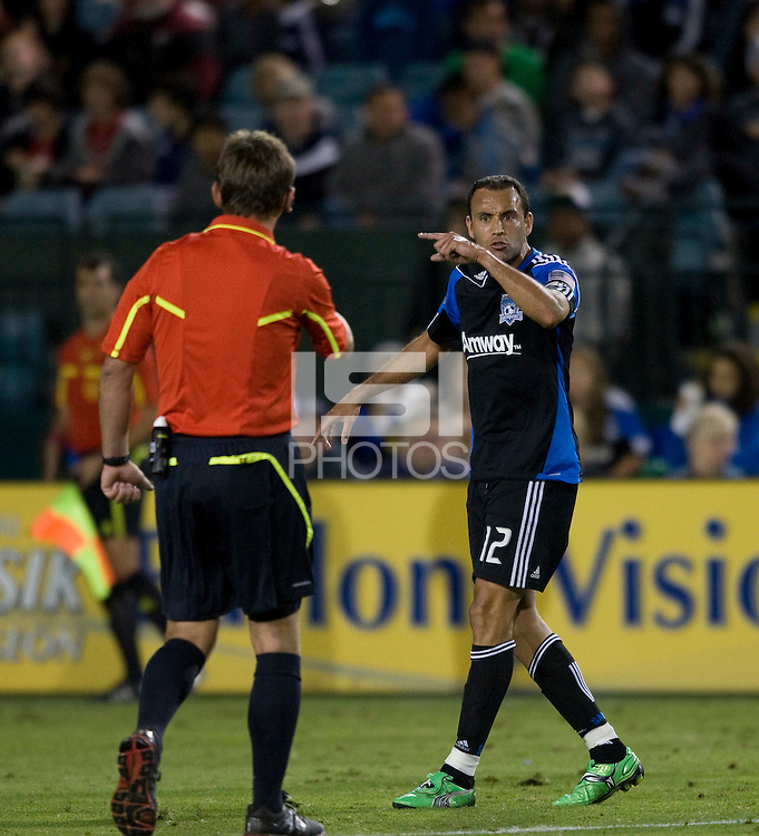 Ramiro Corrales of Earthquakes argues with the referee about a bad call during the game at Buck Shaw Stadium in Santa Clara. California on October 1st, 2011.  San Jose Earthquakes tied Sporting Kansas City, 1-1.