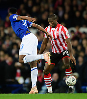 Lincoln City's John Akinde vies for possession with Everton's Yerry Mina<br /> <br /> Photographer Chris Vaughan/CameraSport<br /> <br /> Emirates FA Cup Third Round - Everton v Lincoln City - Saturday 5th January 2019 - Goodison Park - Liverpool<br />  <br /> World Copyright &copy; 2019 CameraSport. All rights reserved. 43 Linden Ave. Countesthorpe. Leicester. England. LE8 5PG - Tel: +44 (0) 116 277 4147 - admin@camerasport.com - www.camerasport.com