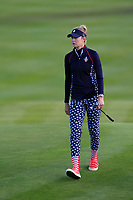Nelly Korda (USA) on the 18th during Day 3 Singles at the Solheim Cup 2019, Gleneagles Golf CLub, Auchterarder, Perthshire, Scotland. 15/09/2019.<br /> Picture Thos Caffrey / Golffile.ie<br /> <br /> All photo usage must carry mandatory copyright credit (© Golffile | Thos Caffrey)