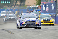 Washington, DC - June 22, 2014: Rhys Millen pulls out during the start of the semi-final heat of the Supercar Red Bull Global Rallycross on the grounds of RFK Stadium in the District of Columbia, June 22, 2014.  (Photo by Don Baxter/Media Images International)