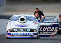 Jun. 15, 2012; Bristol, TN, USA: NHRA pro stock driver Larry Morgan during qualifying for the Thunder Valley Nationals at Bristol Dragway. Mandatory Credit: Mark J. Rebilas-