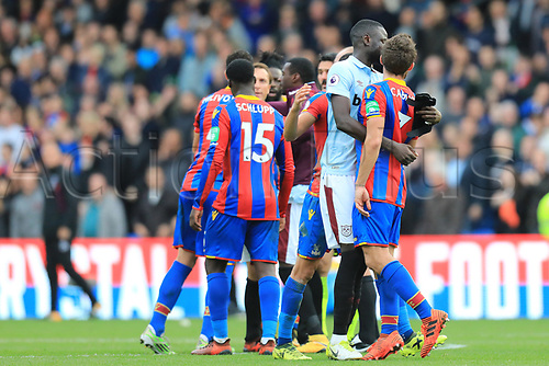 28th October 2017, Selhurst Park, London, England; EPL Premier League football, Crystal Palace versus West Ham United; Yohan Cabaye of Crystal Palace is held back from Mark Noble of West Ham United