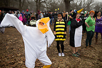 NWA Democrat-Gazette/CHARLIE KAIJO Landon Jordan, 14, of Bentonville (dressed as a pelican) strikes a pose for a costume contest during the annual Beaver Lake Polar Plunge, Saturday, February 10, 2018 at the Praire Creek swim area in Rogers.<br />