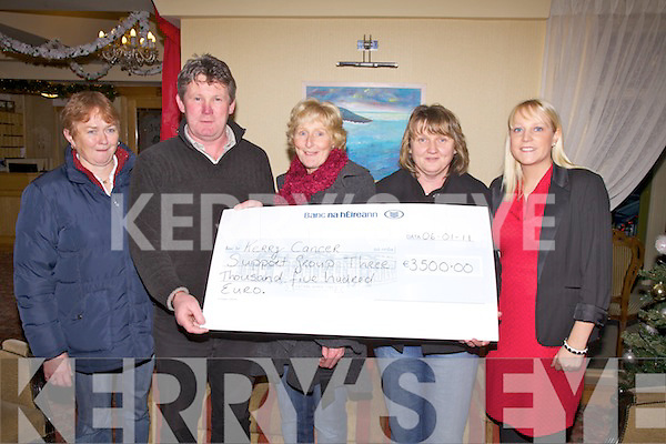 The Christmas Day Swim in Portmagee raised EUR4500 of which EUR1000 is going to the Oncology Unit in Tralee and the remainder of EUR3500 was presented to Connie Naughton for the Kerry Cancer Support Group in aid of the Kerry Cork Health Link Bus, pictured here in the Ring of Kerry Hotel on Thursday were Mary Naughton, Connie Naughton(Driver), Marion O'Shea, Ann Kennedy & Karen O'Driscoll.