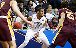 SIOUX FALLS, SD: MARCH 22: Chris-Ebou Ndow #23 of Northwest Missouri State drives toward St. Thomas Aquinas defenders during the Men's Division II Basketball Championship Tournament on March 22, 2017 at the Sanford Pentagon in Sioux Falls, SD. (Photo by Dick Carlson/Inertia)