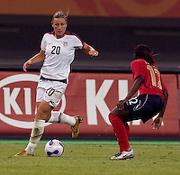 Abby Wambach, Anita Asante. The USA defeated England, 3-0 during the quarterfinals of the FIFA Women's World Cup in Tianjin, China.  The USA defeated England, 3-0.