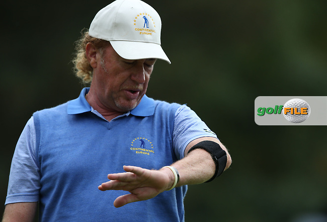 Team Continental Europe's Miguel Angel Jimenez (ESP) unable to strike it hot with the putter during the Fourball Matches on Day One at the Seve Trophy by Golf+ 2013, from Saint-Nom-La-Breteche, Paris, France. Picture:  David Lloyd / www.golffile.ie