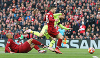 Barcelona's Lionel Messi goes down under the challenge from Liverpool's Fabinho (left) and Andrew Robertson<br /> <br /> Photographer Rich Linley/CameraSport<br /> <br /> UEFA Champions League Semi-Final 2nd Leg - Liverpool v Barcelona - Tuesday May 7th 2019 - Anfield - Liverpool<br />  <br /> World Copyright © 2018 CameraSport. All rights reserved. 43 Linden Ave. Countesthorpe. Leicester. England. LE8 5PG - Tel: +44 (0) 116 277 4147 - admin@camerasport.com - www.camerasport.com