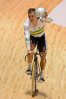 SCOTT SUNDERLAND of the Australian celebrates after winning the Team Sprint on day 1 of the 2012 UCI Track Cycling World Championships at Hisense Arena in Melbourne, Australia. Photo Sydney Low. Copyright Sydney Low. All rights reserved. No reproduction permitted. Access via FlickrAPI not permitted.