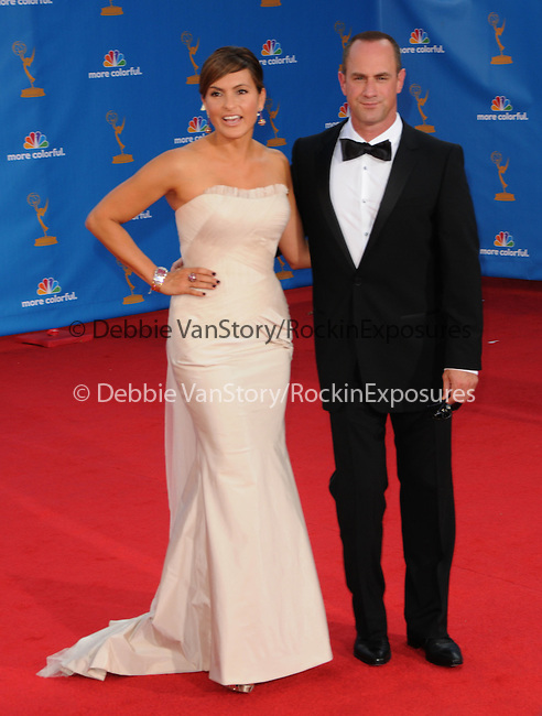 Mariska Hargitay & Christopher Meloni..  at The 62nd Anual Primetime Emmy Awards held at Nokia Theatre L.A. Live in Los Angeles, California on August 29,2010                                                                   Copyright 2010  DVS / RockinExposures