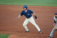 Mobile BayBears Brandon Sandoval (8) leads off first base during a Southern League game against the Jacksonville Jumbo Shrimp on May 7, 2019 at Hank Aaron Stadium in Mobile, Alabama.  Mobile defeated Jacksonville 2-0.  (Mike Janes/Four Seam Images)