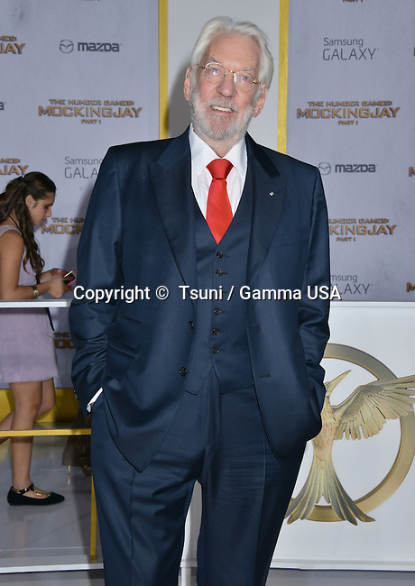 Donald Sutherland 144 at THE HUNGER GAMES, MOCKINGJAY – PART 1 Premiere at the Nokia Theatre on Nov. 17, 2014 in Los Angeles.