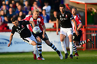 Exeter City's Jayden Stockley is tackled by Lincoln City's James Wilson<br /> <br /> Photographer Chris Vaughan/CameraSport<br /> <br /> The EFL Sky Bet League Two Play Off Second Leg - Exeter City v Lincoln City - Thursday 17th May 2018 - St James Park - Exeter<br /> <br /> World Copyright &copy; 2018 CameraSport. All rights reserved. 43 Linden Ave. Countesthorpe. Leicester. England. LE8 5PG - Tel: +44 (0) 116 277 4147 - admin@camerasport.com - www.camerasport.com