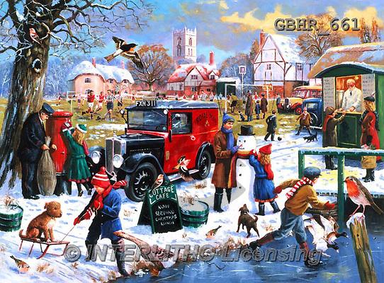 Howard, CHRISTMAS SANTA, SNOWMAN, WEIHNACHTSMÄNNER, SCHNEEMÄNNER, PAPÁ NOEL, MUÑECOS DE NIEVE, Christmas animals, Weihnachten Tiere, Navidad animales, paintings+++++,GBHR661,#X#,#XA#