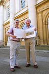 Chris Andrews, publisher, and David Sheperd, artist, at Christ Church during the Sunday Times Oxford Literary Festival, UK, 2-10 April 2011. Two copies of their book The David Shepherd Archive Collection were sold at the festival.<br />