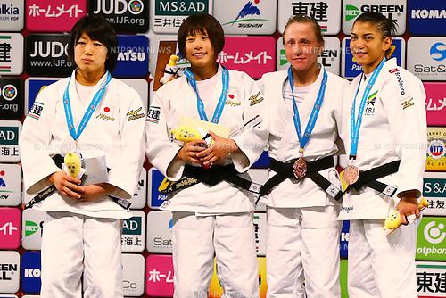 (L-R) <br /> Haruna Asami, <br /> Ami Kondo (JPN),<br /> Sarah Menenes (BRA),<br /> Nataliya Kondratyeva (RUS),<br /> DECEMBER 4, 2015 - Judo : <br />  IJF Grand Slam Tokyo 2015 International Judo Tournament<br /> Women's -48kg Award Ceremony<br /> at Tokyo Metropolitan Gymnasium, Tokyo, Japan. <br /> (Photo by Shingo Ito/AFLO SPORT)