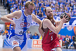San Pablo Burgos Thomas Schreiner and Gipuzkoa Basket Daniel Clark during Liga Endesa match between San Pablo Burgos and Gipuzkoa Basket at Coliseum Burgos in Burgos, Spain. December 30, 2017. (ALTERPHOTOS/Borja B.Hojas)