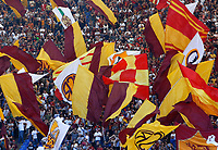 Roma's fans wave flags at the start of the Italian Serie A football match between Roma and Lazio at Rome's Olympic stadium, September 29, 2018. Roma won 3-1.<br /> UPDATE IMAGES PRESS/Riccardo De Luca