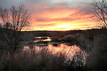 Idaho, south central, Hagerman. A color sunrise along the Snake River in winter.