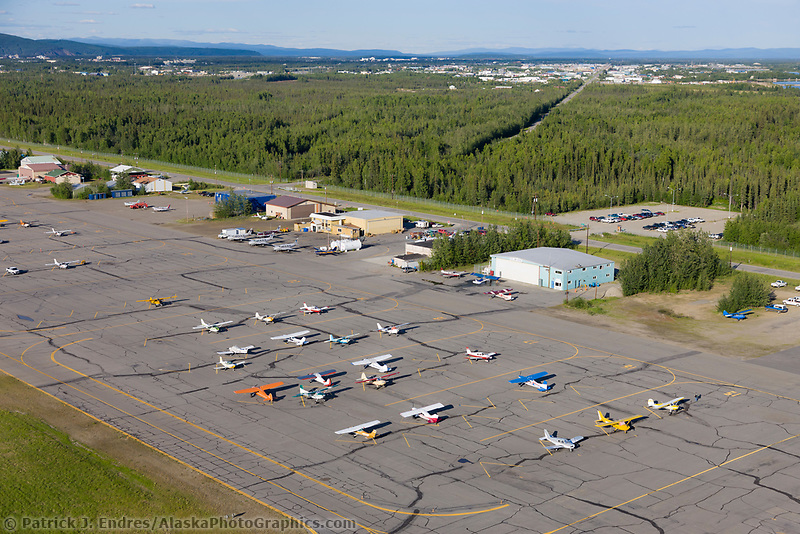 Airplanes on the tarmac at the Fairbanks small plane airport.