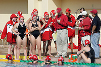 17 February 2008: Head coach John Tanner during Stanford's 10-5 win over UC Davis at the Avery Aquatic Center in Stanford, CA. Also pictured are Heather West, Kelsey Holhouser, Lauren Silver, Emily Clopp, Kim Hall, Amber Oland, Koree Blyleven, Kim Krueger, Jacquelyn Gauthier, and Allie Gerrity.