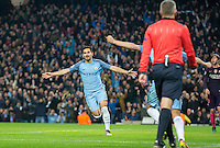 Ilkay Gundogan of Manchester City turns to celebrate his second goal during the UEFA Champions League match between Manchester City and Barcelona at the Etihad Stadium, Manchester, England on 1 November 2016. Photo by Andy Rowland / PRiME Media Images.
