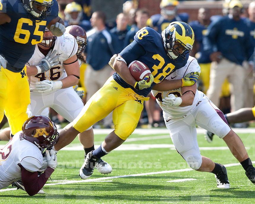 The University of Michigan football team beat Minnesota 58-0 at Michigan Stadium in Ann Arbor, Mich., on October 1, 2011.