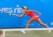 June 13th 2017, The Northern Lawn tennis Club, Manchester, England; ITF Womens tennis tournament; Arina Rodionova (AUS) plays a forehand during her first round singles match against number 8 seed Su Jeong Jang (KOR); Rodionova won in three sets